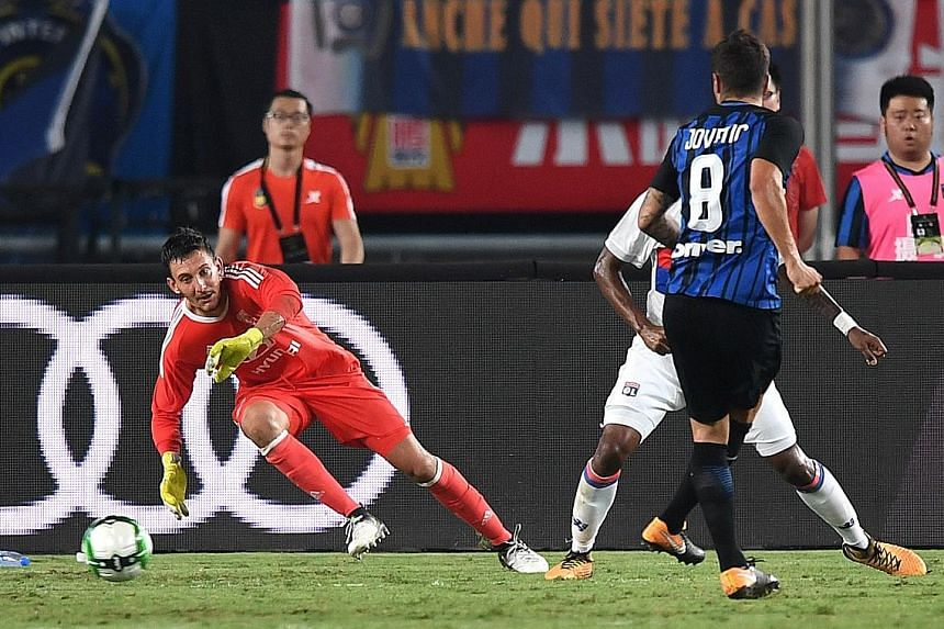 Stevan Jovetic scoring the winner against Lyon in the 74th minute. After starting the match with many reserves, Inter coach Luciano Spalletti made wholesale changes at half-time which made a big difference.
