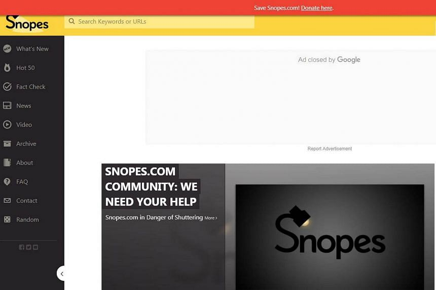 Snopes said it needs donations from its readers to keep operating.