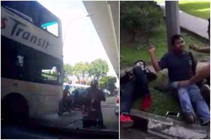 The bus was filmed knocking down four motorcyclists while the traffic light was still red along Pasir Panjang Road.