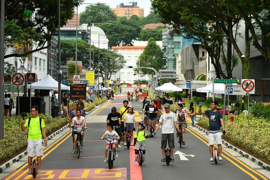 Coordinating Minister for Infrastructure and Minister for Transport Khaw Boon Wan officially launch the revitalised Bencoolen Street, in conjunction with this month's special edition of Car-Free Sunday SG, on May 28, 2017.