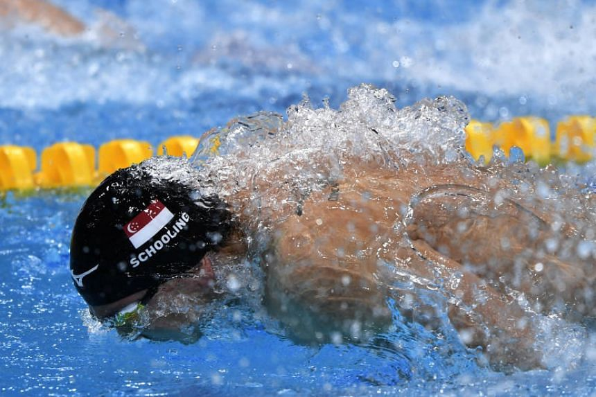 Joseph Schooling competing in his 50m butterfly semi-final at the World Swimming Championships in Budapest, Hungary on July 23, 2017.