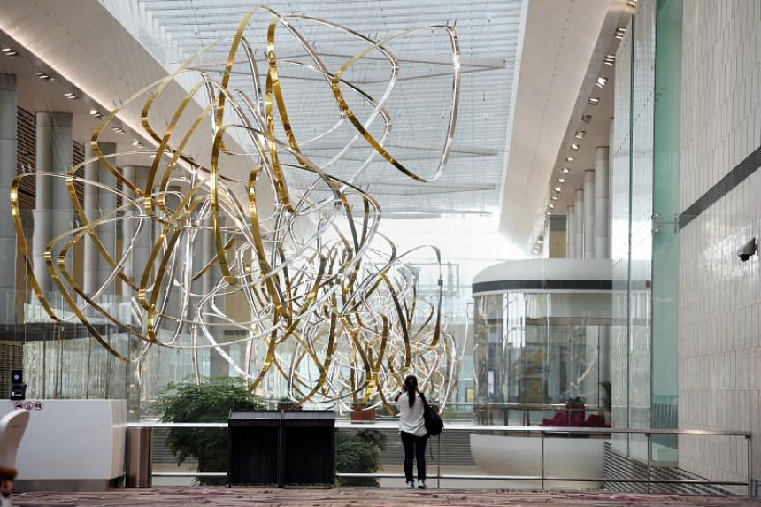Art pieces adorn the new Changi Airport Terminal 4, including this aluminum installation called Petalclouds.
