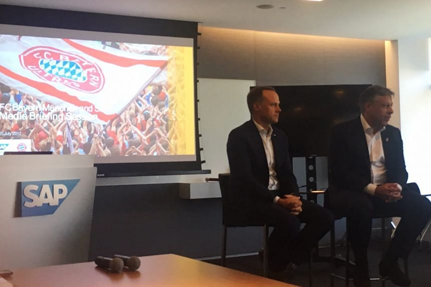 SAP's global general manager of sports & entertainment Stefan Wagner (left) and Bayern Munich's director of media, digital and communications Stefan Mennerich speaking about the game's digitalisation.