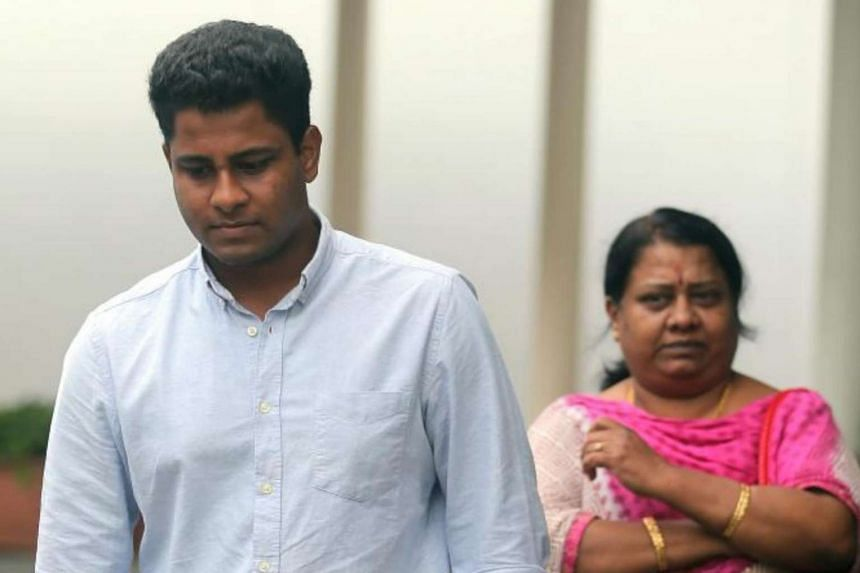 Vandana Kumar Chidambaram leaving the State Courts with his mother in October 2016. He was charged with evading NS for five years.