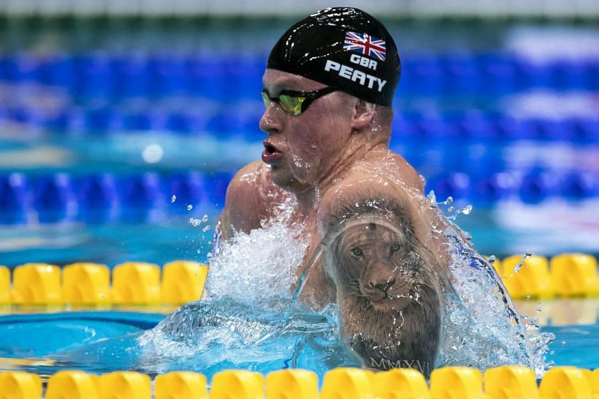 Adam Peaty of Great Britain on his way to clock in a new World Record time in the men's 50m Breaststroke Heats during the Swimming competition held at the Duna Arena during the 17th Fina World Championships 2017 in Budapest, Hungary, on July 25, 2017