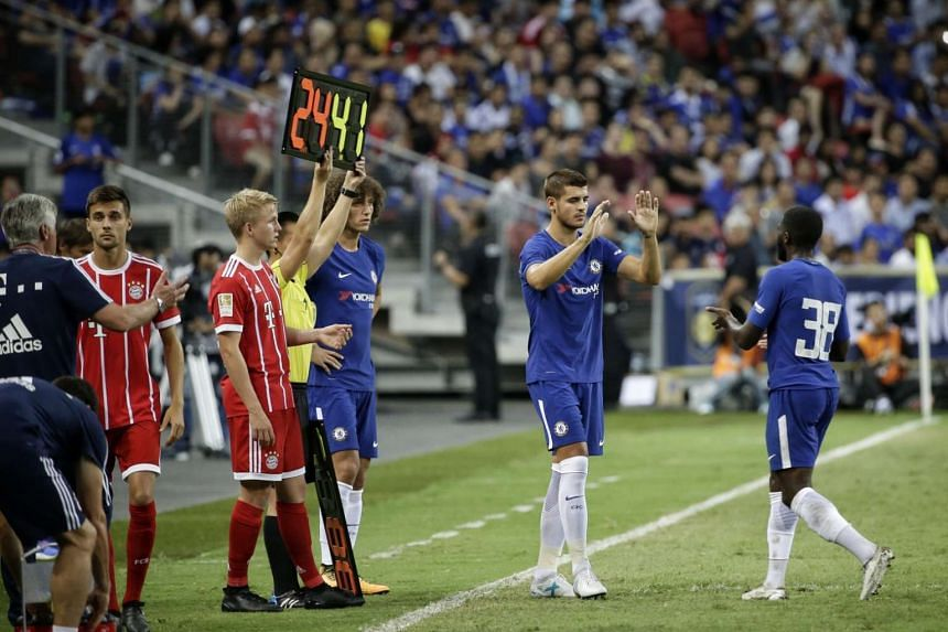 Chelsea's Alvaro Morata (second from right) replacing Jeremie Boga (38) during the second half of the International Champions Cup at the National Stadium on July 25, 2017.