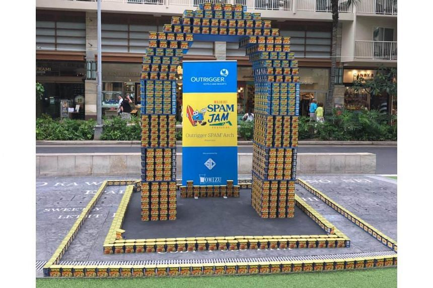 An arch made from cans of Spam, at the Waikiki Spam Jam.