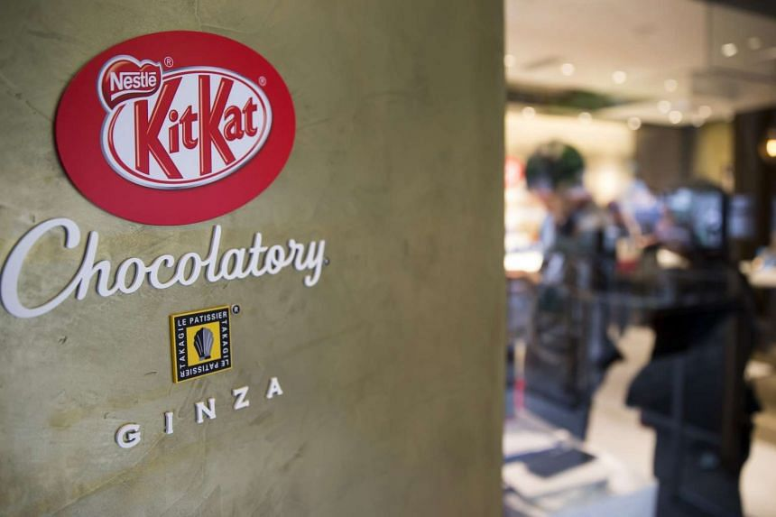 The Kit Kat logo is displayed at the entrance to the Kit Kat Chocolatory Ginza store, operated by Nestle SA, in Tokyo, Japan, on July 24, 2017.
