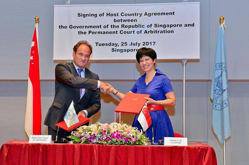 Senior Minister of State for Law Indranee Rajah and Permanent Court of Arbitration (PCA) Secretary-General Hugo Siblesz signed an agreement yesterday to set up the new office here. It will allow the PCA to administer the growing number of its cases b