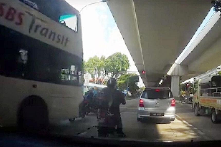 Screenshots from the online clip showed the motorcyclists waiting at a junction, with the bus behind them. While the lights are still red, the bus moves forward, slams into the motorcyclists and moves on.