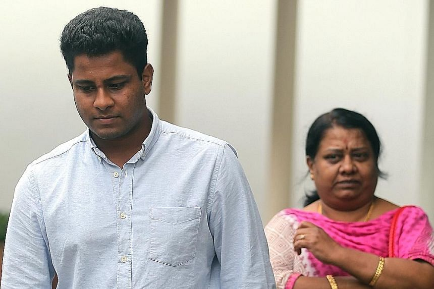 Vandana Kumar Chidambaram leaving the State Courts with his mother last October.