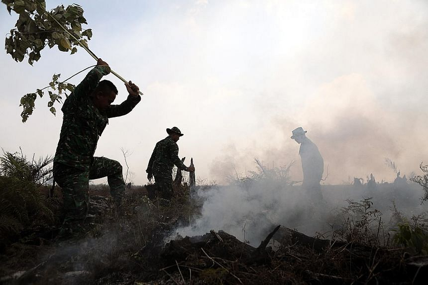 Indonesian military personnel trying to extinguish a fire in the swamp land in Meulaboh in West Aceh, Indonesia, yesterday. Hundreds of hectares of swamp land in West Aceh are on fire, due to the long dry season and land clearing activity conducted t