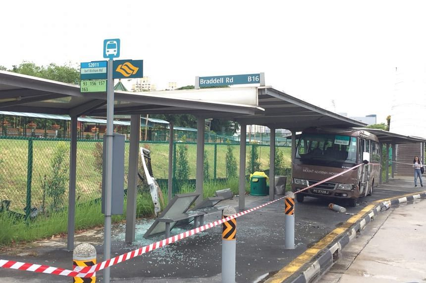 The aftermath of the accident involving a private bus along Braddell Road on Wednesday (July 26).