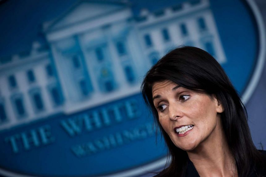 US Ambassador to the UN Nikki Haley speaks during a briefing at the White House in Washington, DC, on April 24, 2017.