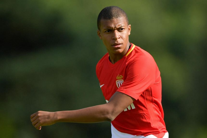 Kylian Mbappe looks on during a friendly football match between AS Monaco and Stoke City FC, on July 15, 2017.