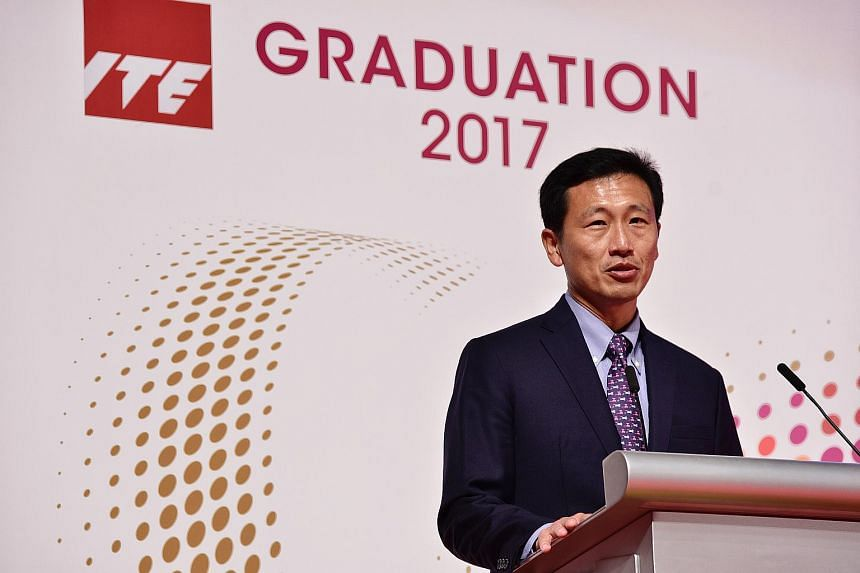 Education Minister Ong Ye Kung giving an address during the ITE graduation ceremony, on July 25, 2017 .