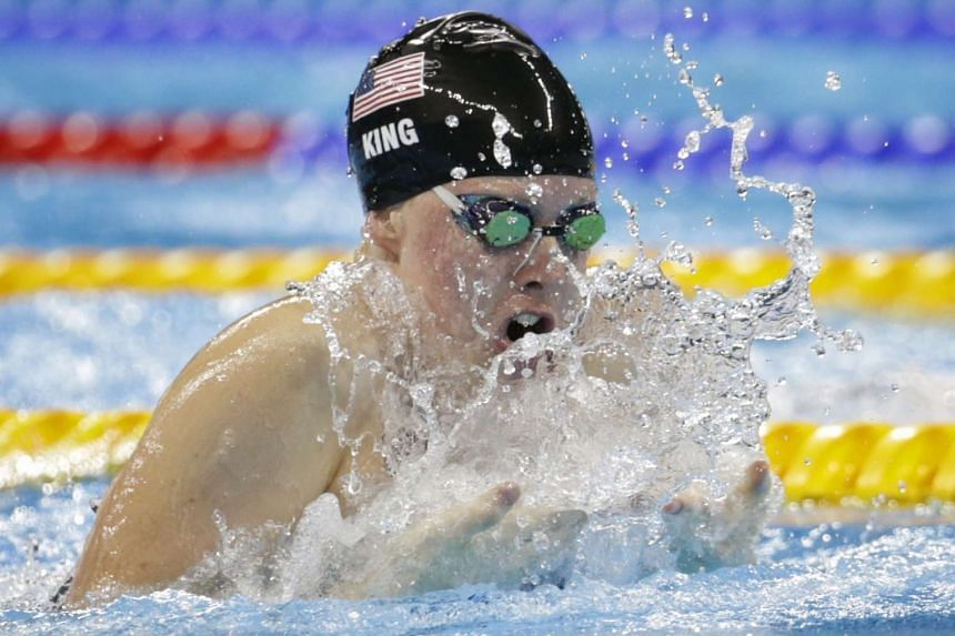Lilly King of the United States racing to a gold medal in the Rio 2016 Olympic Games women's 100m breaststroke final at the Olympic Aquatics Stadium in Rio de Janeiro, Brazil, on Aug 8, 2016.