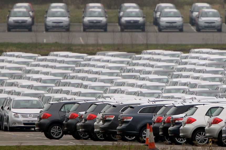New cars are parked at Toyota's Burnaston plant near Derby, central England, on Feb 18, 2009.
