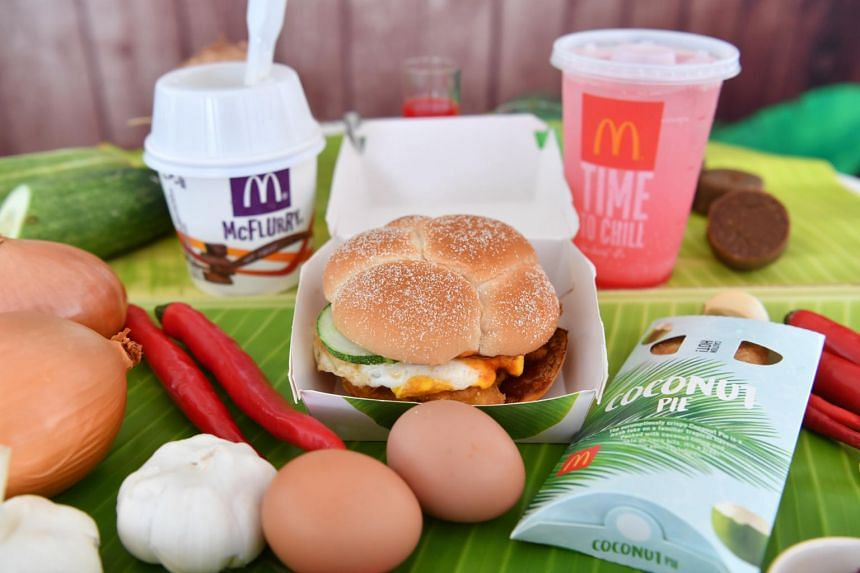McDonald's Nasi Lemak Burger, Chendol McFlurry and Bandung McFizz.