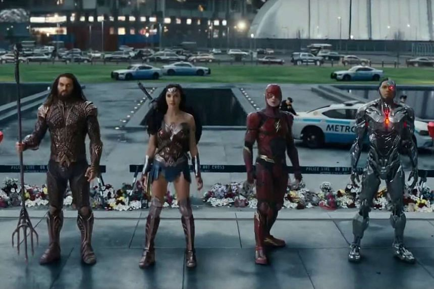 Top significant Comic-Con trailers include Justice League, which stars (above from left) Jason Momoa, Gal Gadot, Ezra Miller and Ray Fisher, and Westworld, starring Evan Rachel Wood.