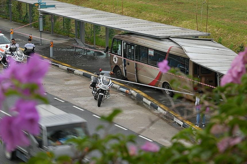 The Mount Alvernia Hospital shuttle bus carrying 26 people was heading towards Bishan yesterday afternoon when it crashed into the bus stop along Braddell Road. Two pregnant women were among the 13 injured, and were among those taken to hospital.