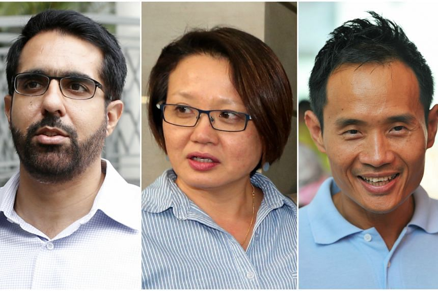 A lawsuit claims that (from left) Mr Pritam Singh, Ms Sylvia Lim, Mr Kenneth Foo and Chua Zhi Hon (not pictured) had breached Town Councils Financial Rules for 10 construction projects costing between $71,500 and $1,668,711.