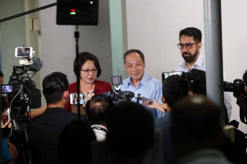 Sylvia Lim, WP chief Low Thia Khiang and Pritam Singh hold a media doorstop interview on the AHTC lawsuit against them before Mr Low's Meet the People session on Wed July 26, 2017.