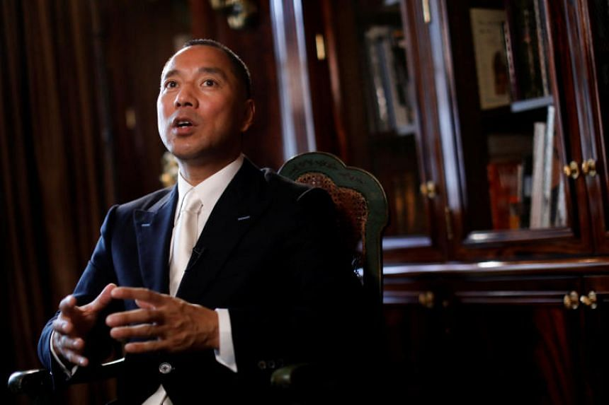 Billionaire businessman Guo Wengui speaks during an interview in New York City.