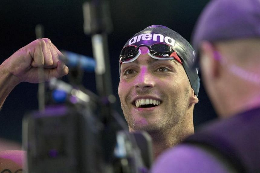 Gabriele Detti of Italy celebrates after winning the men's 800m Freestyle final during the 17th FINA Swimming World Championships in the Duna Arena in Budapest, Hungary, July 26, 2017