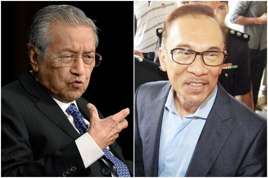 Former Prime Minister Dr Mahathir Mohamad and jailed opposition party leader, Anwar Ibrahim.