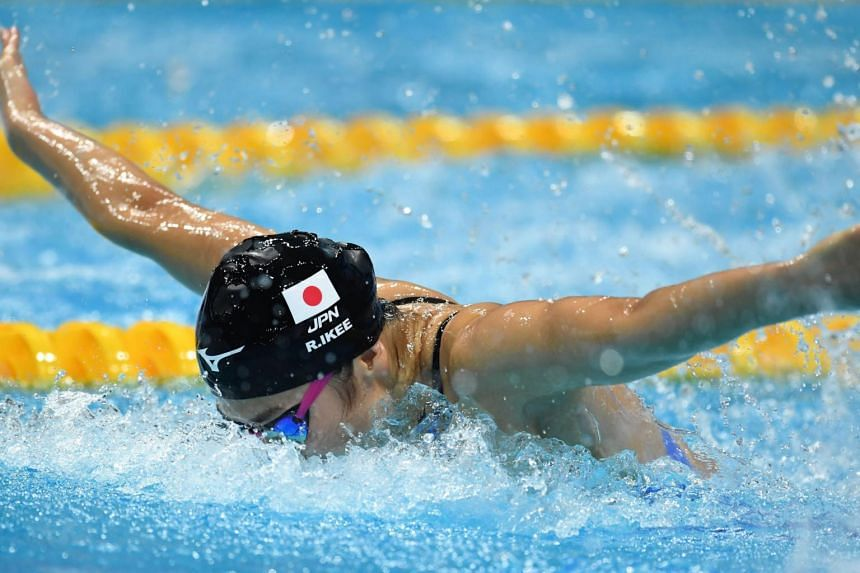 Japan's Rikako Ikee competes in the women's 100m butterfly final during the swimming competition at the 2017 FINA World Championships in Budapest, on July 24, 2017.