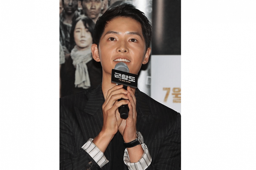 Actor Song Joong Ki said he was the one who suggested he and his fiance, actress Song Hye Kyo, announce their wedding plans. The couple is set to wed on Oct 31.