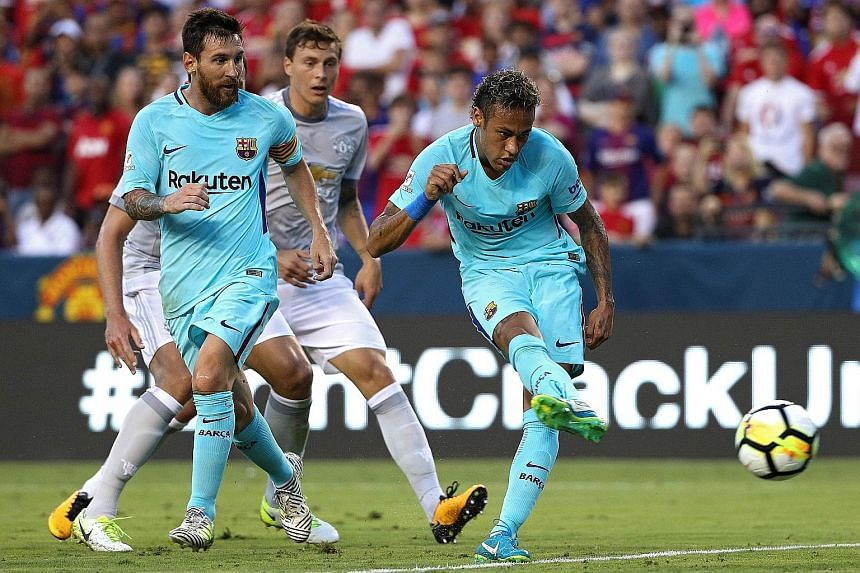 Neymar scoring the only goal of Barcelona's International Champions Cup match against Manchester United in Maryland on Wednesday in front of 80,162 fans.