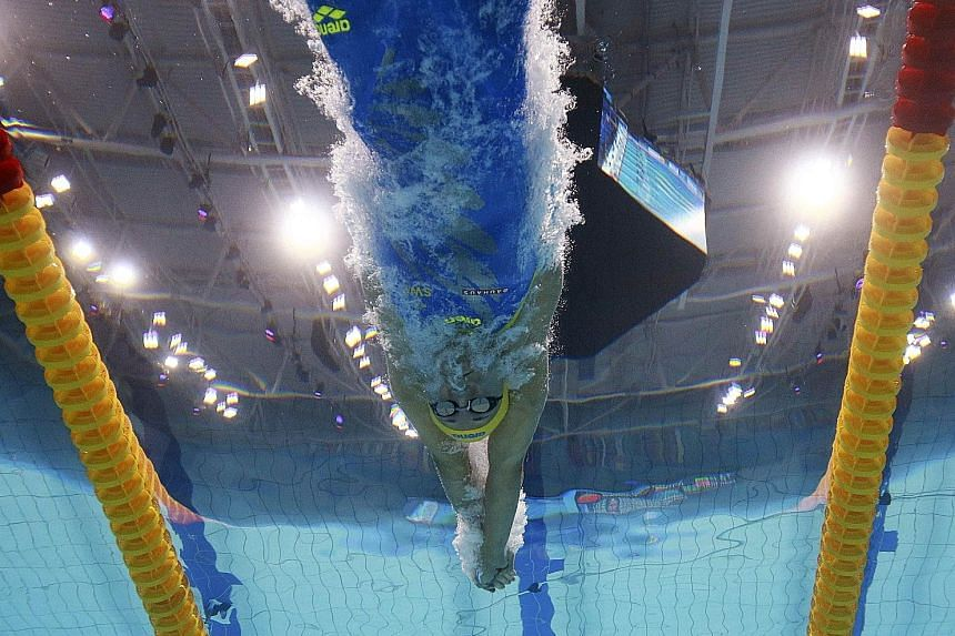 Sarah Sjostrom of Sweden competing in the 100m freestyle semi-finals at the World Aquatics Championships in Budapest yesterday. She finished with a time of 52.44sec ahead of the final today and is also the world record holder in 51.71sec.