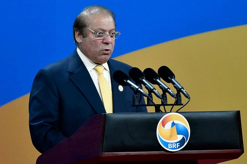 Pakistan's Prime Minister Nawaz Sharif delivers a speech at the Belt and Road Forum in Beijing.