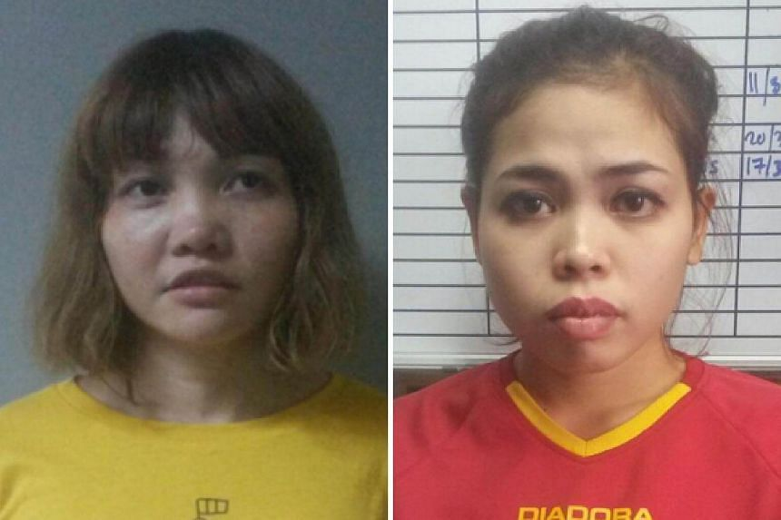 Doan Thi Huong of Vietnam (left) and Siti Ashyah of Indonesia, are expected to plead not guilty to the assassination of Kim Jong Nam.
