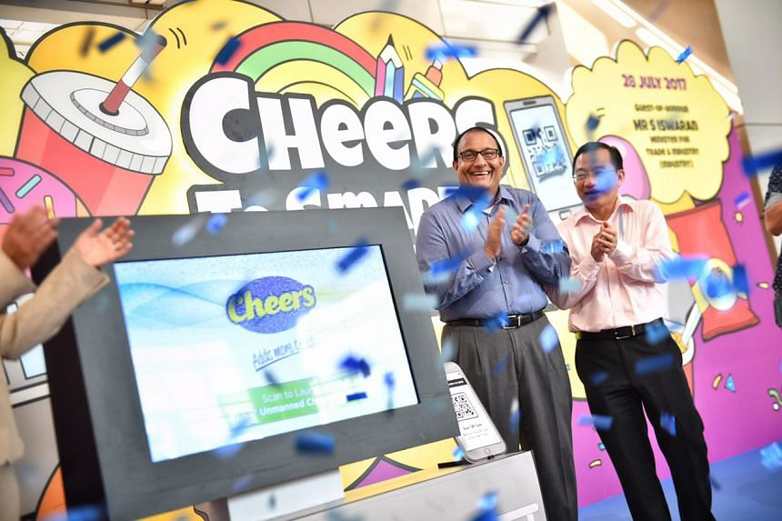 Minister for Trade and Industry S. Iswaran was present during the launch of Cheers' unmanned and cashless concept store in Nanyang Polytechnic.