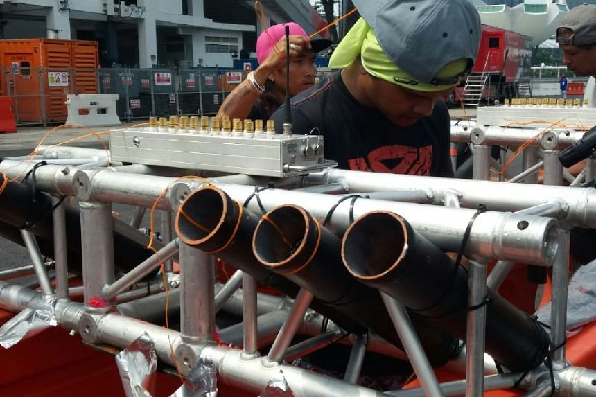 Mini rocket pods that will simulate the ROCKET TRAIL of a High Mobile Artillery Rocket System (Himars) being fired, at The Float @ Marina Bay.