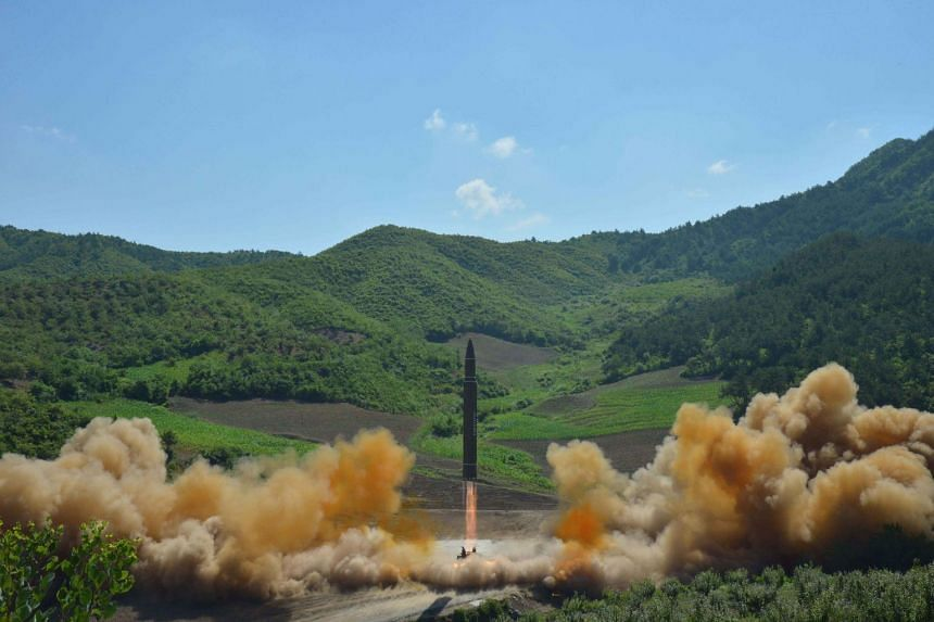 A North Korea file photo allegedly showing the North Korean inter-continental ballistic rocket Hwasong-14.