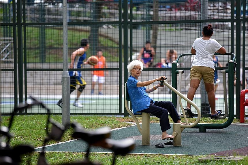 Fitness facilities in a housing estate. The Active Health Labs, set up by Sport Singapore in collaboration with healthcare partners, will be progressively rolled out to all sports centres here.