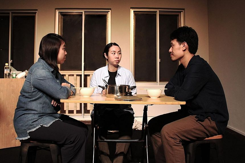 (From far left) Dawn Teo, Chang Ting Wei and Andy Pang star in Chicken Curry, part of Toy Factory Productions' The Wright Stuff platform for new playwrights.