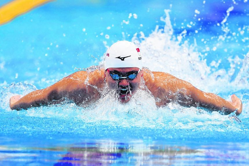 Singapore's Olympic Games champion Joseph Schooling winning his heat in 51.21sec yesterday to qualify for the 100m butterfly semi-finals. He was the fourth-fastest qualifier.