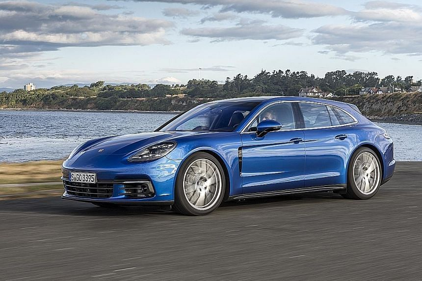 The Porsche Panamera Turbo Sport Turismo is an all-wheel- drive with an eight-speed dual-clutch transmission.