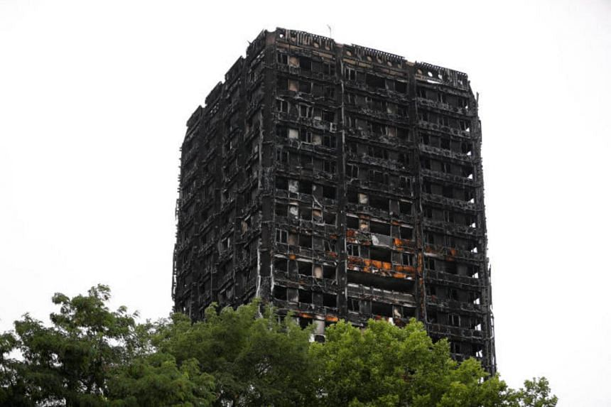 A general view shows the Grenfell Tower, which was destroyed in a fatal fire, in London on July 15, 2017.