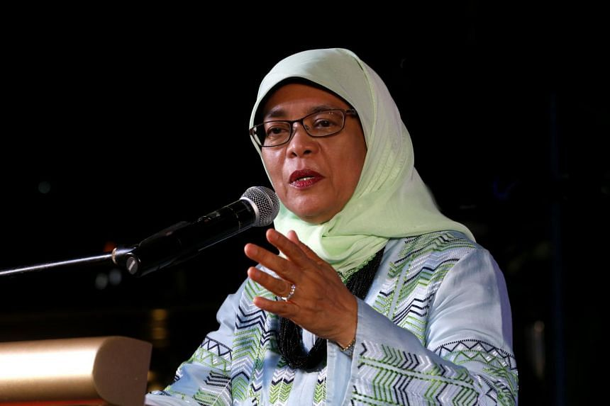 Madam Halimah Yacob speaking at a Eunos grassroots cultural festival on July 23, 2017.