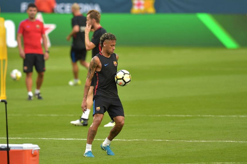 Barcelona's Brazilian forward Neymar takes part in a training session at Hard Rock Stadium in Miami, Florida, on July 28, 2017.
