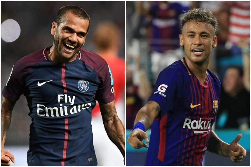 PSG defender Dani Alves (left) said he hopes former Barcelona teammate Neymar will join him at the French club.