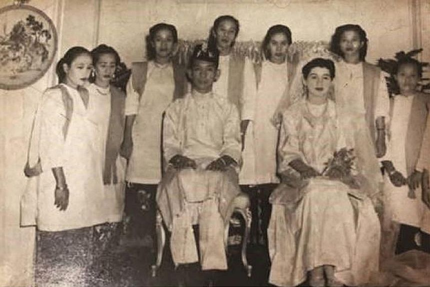 Tun Aminah and Mr Dennis Muhammad will don wedding outfits similar to what the Johor Sultan's parents wore on their wedding day (far right).