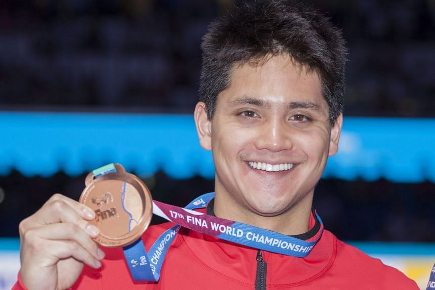 Joseph Schooling won a bronze medal in the 100m butterfly final at the World Championships on Sunday (July 30, Singapore time). It is his second bronze at the biennial event following his win during the 2015 edition.