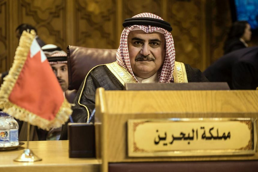 Bahraini Foreign Minister Khalid bin Ahmed al-Khalifa attends the Arab Foreign Minister's meeting in Cairo to discuss the simmering unrest surrounding the Al-Aqsa mosque compound in Jerusalem on July 27, 2017.